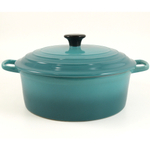 Serving Round Soup Pot with Lid Caribbean Blue 10""