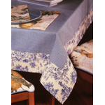 Waverly Oblong Tablecloth Gingham Blue Toile Fabric