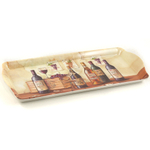 Melamine Serving Tray with Wine Cellar Printed Design, 15 x 6.75 Inch