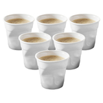 Revol Froisses White Porcelain 2.75 Ounce Crumpled Espresso Tumbler, Set of 6