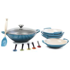 Le Creuset Caribbean Enameled Cast Iron Wok with Stoneware Wok Dish Set and Serveware