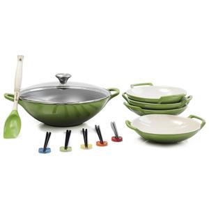 Le Creuset Palm Enameled Cast Iron Wok with Stoneware Wok Dish Set and Serveware