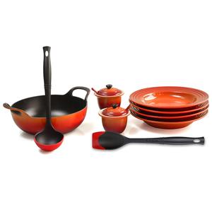 Le Creuset Flame Enameled Cast Iron 3 Quart Balti Dish Ultimate Service Set
