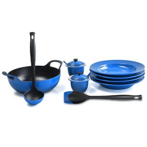 Le Creuset Marseille Blue Enameled Cast Iron 3 Quart Balti Dish Ultimate Service Set