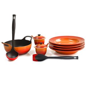 Le Creuset Flame Enameled Cast Iron 1.75 Quart Balti Dish Ultimate Service Set