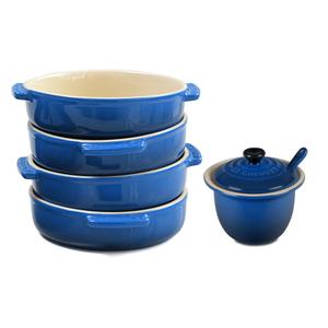 Le Creuset Marseille Blue Stoneware 4 Piece Tapas Dish Set with Condiment Pot