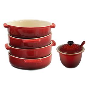 Le Creuset Cherry Stoneware 4 Piece Tapas Dish Set with Condiment Pot