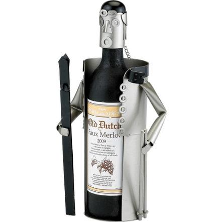 Old Dutch Metal Skier Wine Bottle Holder Buddy