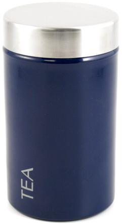 """Stainless Steel with Navy Blue Enamel """"Tilo"""" Tea Storage Tin"""