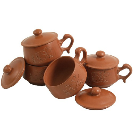 Terracotta Clay Asian Tea Cup Set, 8 Pieces