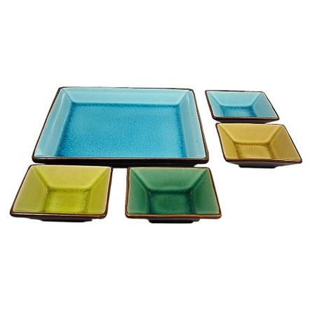 Asian Appetizer 5 Piece Crackled Glass Plate & Sauce Bowls