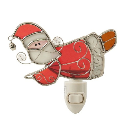 Flying Santa Claus Stained Glass Night Light