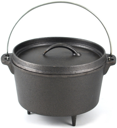 Cast Iron Dutch Oven with Large Heavy Duty 2 QT Camping Stew