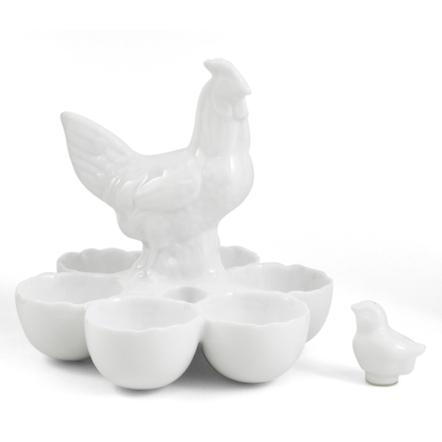 White Ceramic Rooster Egg Server with Chick Salt Shaker