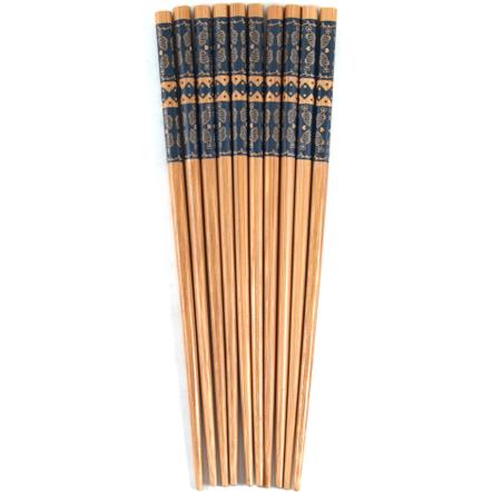 Asian Blue Fish Bamboo Chopsticks, 5 Pair