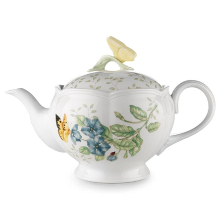 Lenox Butterfly Meadow White Porcelain Teapot with Lid, 48 Ounce