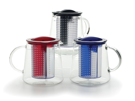 Red Glass Tea Control Teapot with Brew Stop Infuser