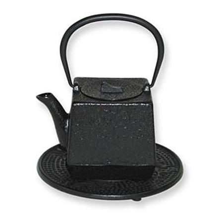 Japanese Tetsubin Cast Iron Black Square Teapot