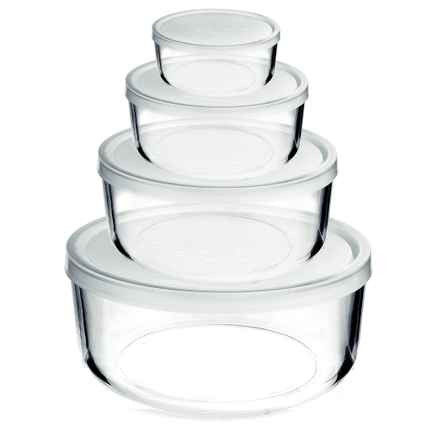 Bormioli Rocco Frigoverre Clear Glass Container with Frosted Lid, Set of 4