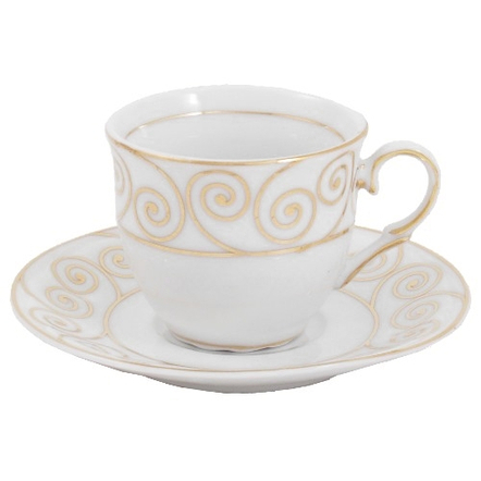 Gold Swirl Pattern Porcelain Espresso Cup, Service for 6