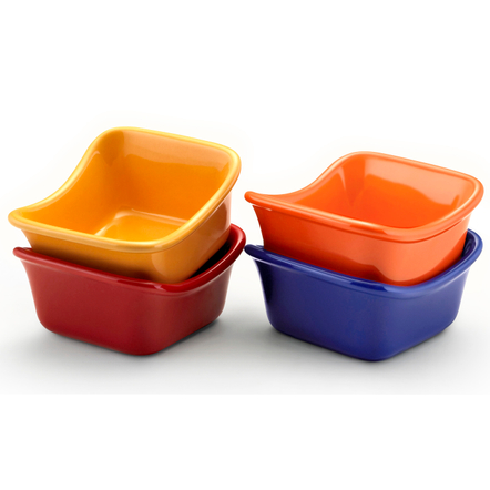 Rachael Ray Multi-Colored Stoneware Square Dipping Cup, Set of 4