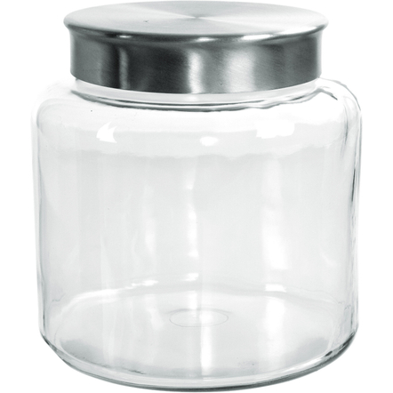 Anchor Hocking Glass Modern Montana Jar with Brushed Aluminum Cover, 1.5 Gallon