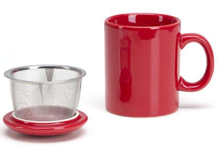 Omniware Simply Red Ceramic Infuser Tea Mug with Lid