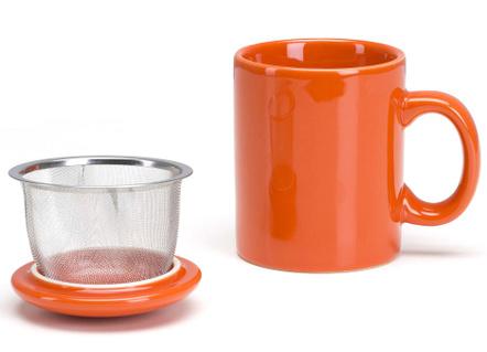 Omniware Orange Ceramic Infuser Tea Mug with Lid