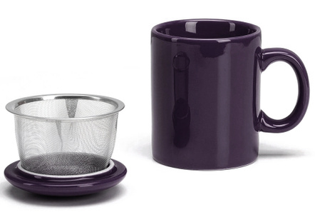 Omniware Aubergine Ceramic Infuser Tea Mug with Lid