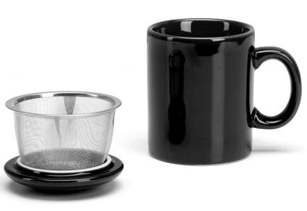 Omniware Black Ceramic Infuser Tea Mug with Lid