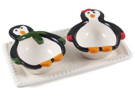 Boston Warehouse Earthenware Penguin Party 3 Piece Serving Set