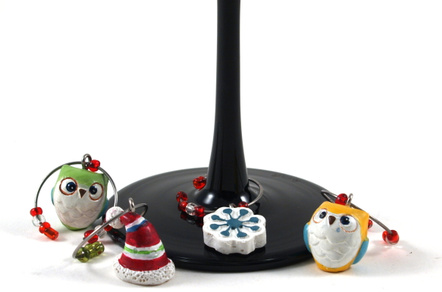Boston Warehouse Resin Snowy Owls Wine Charm, Set of 6
