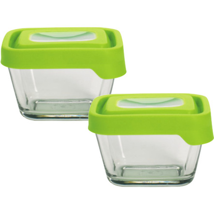 Anchor Hocking TrueSeal Rectangular 1.9 Cup Glass Food Storage Container with Airtight Green Lid, Set of Two