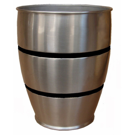 Metal Waste Can with Black Stripes