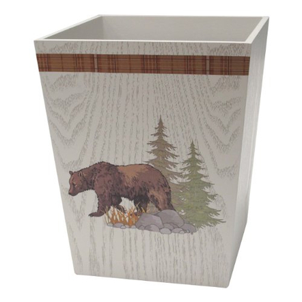 Allure Home Creations Lodge Brown Wood Tapestry Wastebasket