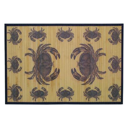 Sunday Morning Home Veranda Blue Crab Bamboo 2 x 3 Foot Indoor Mat