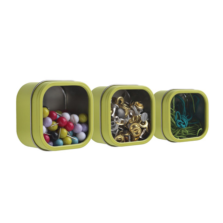 Three by Three Hold Up Spring Green Tin Storage Bin, Set of 3
