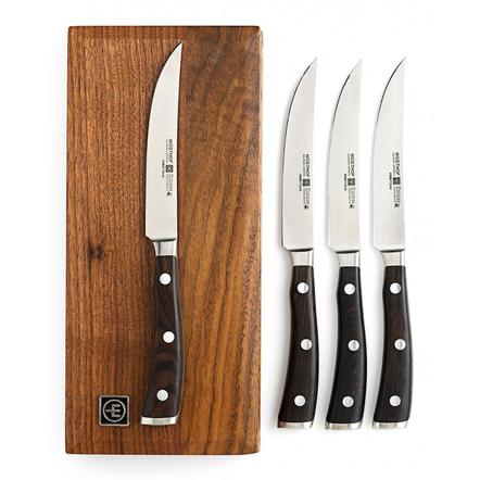 Wusthof Ikon 4 Piece Steak Knife Set in Walnut Chest