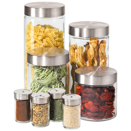 OGGI Stainless Steel and Glass 8 Piece Canister and Spice Jar Set
