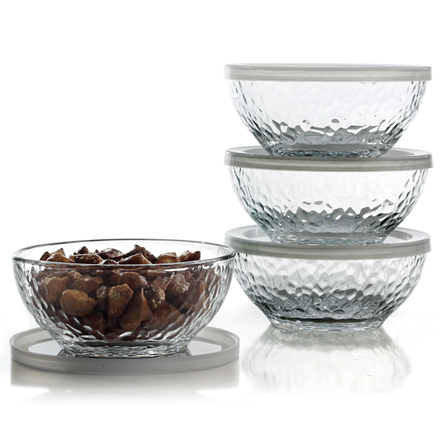 Libbey Frost 8 Piece Serve and Store Glass Bowl Set