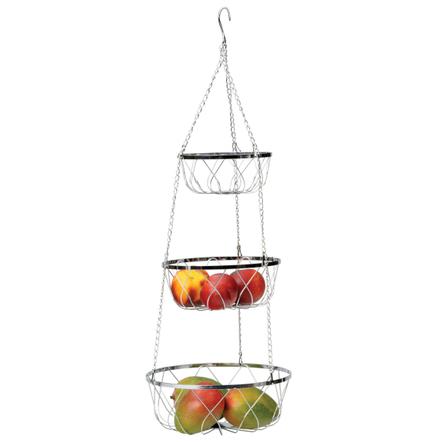 RSVP 3-Tier Hanging Fancy Chrome Wire Fruit Basket