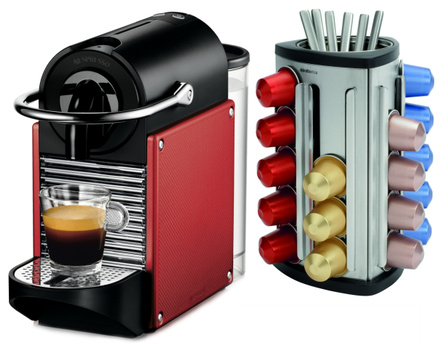 Nespresso Pixie D60 Dark Red Espresso Machine Plus Bonus 30 Capsule Carousel