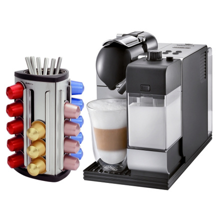 DeLonghi Lattissima Plus EN520SL Silver Nespresso Capsule Espresso and Cappuccino Machine with Bonus 30 Capsule Carousel