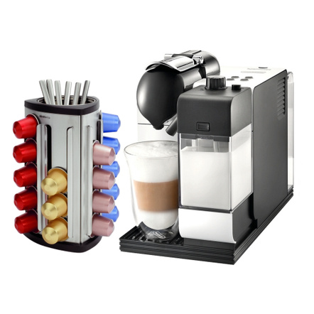 DeLonghi Lattissima Plus EN520W White Nespresso Capsule Espresso and Cappuccino Machine with Bonus 30 Capsule Carousel