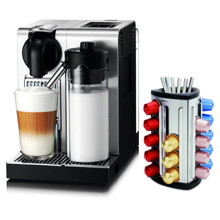 DeLonghi Lattissima Nespresso Pro Stainless Steel Capsule Espresso and Cappuccino Machine with Bonus 30 Capsule Carousel