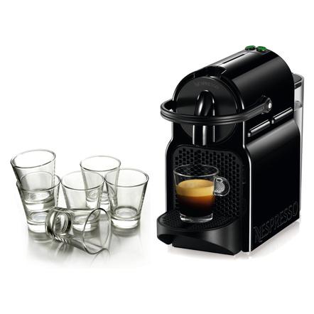 Nespresso Original Line Inissia Black Espresso Maker Bundle with Set of 6 Espresso Glasses