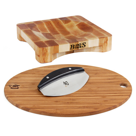John Boos Maple Wood Mezzaluna Herb Bowl Cutting Board with Shun Classic Mezzaluna Knife and Bonus Oval Bamboo Cutting Board