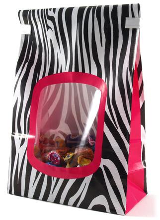 Siege Cupcake Creations Pink Zebra Cookie and Treat Bag, Set of 4