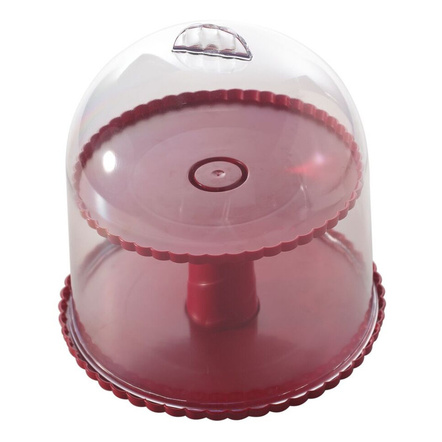 Nordicware Red 2-Tiered Dessert Stand with Dome Lid
