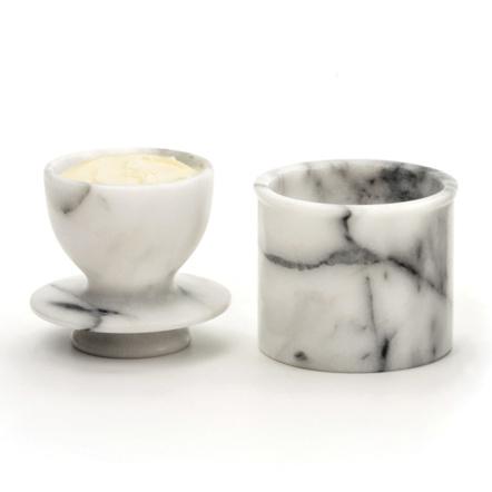 RSVP Endurance White Marble Butter Pot